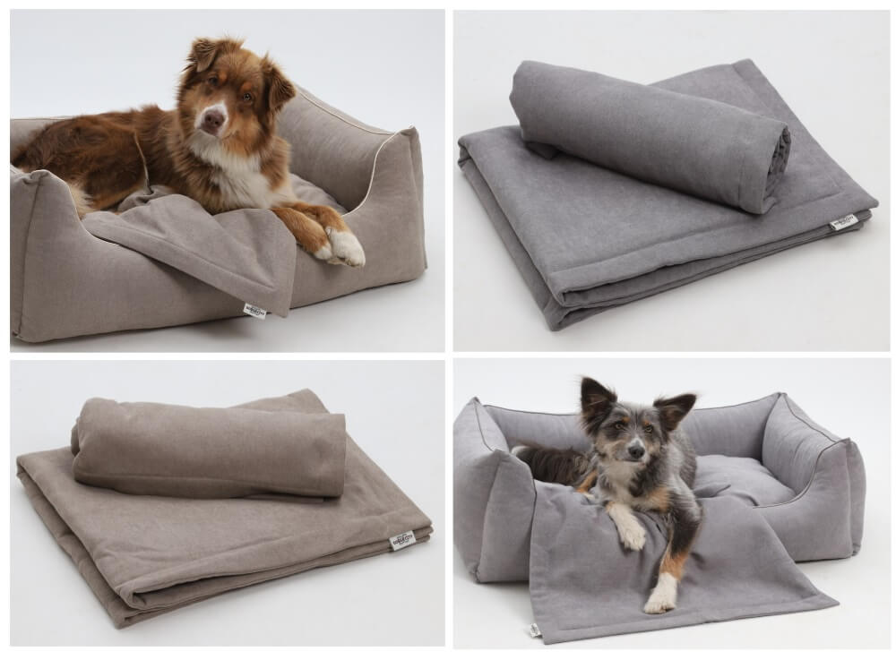 PERFECT MATCH! Box Bed & Plaids Monterey beige and grey | DOGS in the CITY