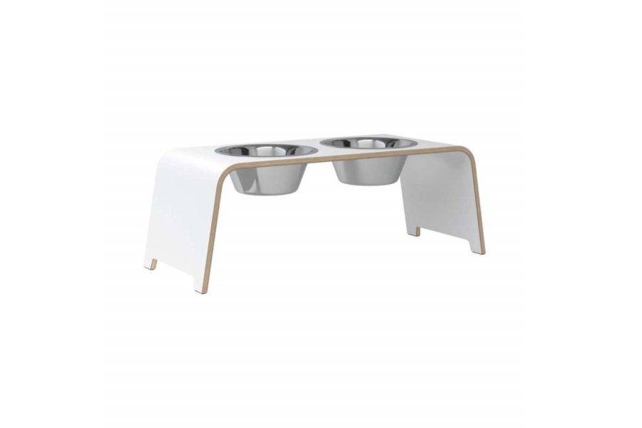 dogBar® L - HPL white with stainless steel