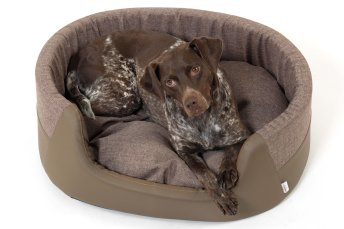 Dog Bed Basket oval New York brown